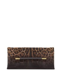 Tom Ford Ava Leopard Print Calf Hair Clutch Bag Black Pattern