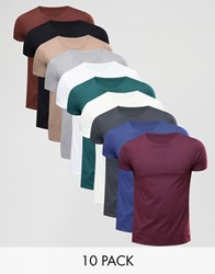 Asos 10 Pack T Shirt With Crew Neck W B Wd W C S P C S O Multi