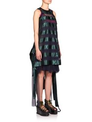 Sacai Sheer Stripe Tank Dress Navy Green