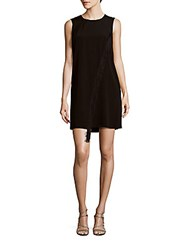 Rebecca Taylor Fringe Solid Shift Dress Black
