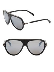 Balmain Tinted Lens 59Mm Aviator Sunglasses Black Silver