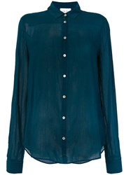 Forte Forte Ruched Effect Shirt Silk Cotton Blue