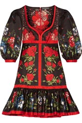 Alexander Mcqueen Floral Print Cotton Mini Dress Red