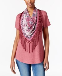 Style And Co Petite T Shirt With Printed Fringe Scarf Only At Macy's Pale Raspberry