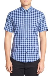 Zachary Prell Trim Fit Gingham Cotton And Linen Sport Shirt Blue