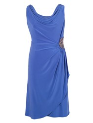 Chesca Cowl Neck Side Beaded Jersey Dress Blue