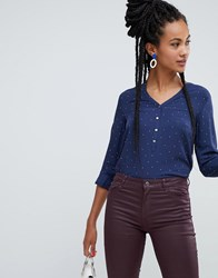Esprit Polka Dot Button Front Blouse In Navy