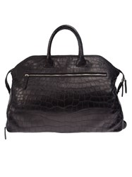 Zagliani Crocodile Leather Holdall Black