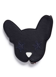 Etre Cecile 'Dog Face' Sheepskin Leather Coin Pouch Black