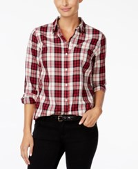 Charter Club Petite Plaid Shirt Only At Macy's Cloud Combo