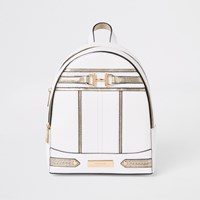 River Island White Snaffle Front Backpack