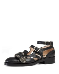 Gucci Cutout Brogue Leather Flat Black