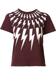 Neil Barrett Lightning Bolt Print T Shirt Red