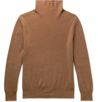 The Row Daniel Ribbed Cashmere Rollneck Sweater Camel