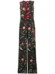 Red Valentino Bow Trimmed Sleeveless Jumpsuit Black