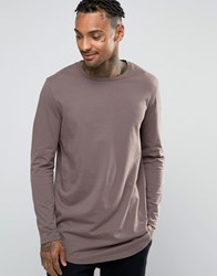 Asos Longline Long Sleeve T Shirt With Curved Hem Purple Grey