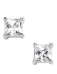 Lord And Taylor Platinum Plated Stud Earrings Clear