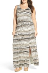 Sejour Plus Size Women's Jersey Maxi Dress Ivory Tan Zig Zag Print