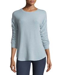 Neiman Marcus Ruched Sleeve Soft Tunic Gray