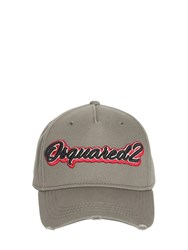 Dsquared Logo Embroidered Cotton Gabardine Cap Stone