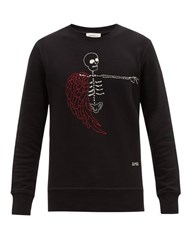 Alexander Mcqueen Skeleton Embroidered Cotton Sweatshirt Black Multi