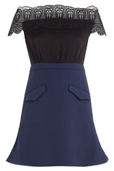 Self Portrait Bardot A Line Mini Dress Blue