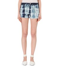 J Brand Tie Dye Patterned Denim Shorts Tied Estate Blue