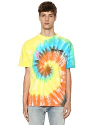 Palm Angels Logo Print Tie Dye Cotton Jersey T Shirt Multicolor