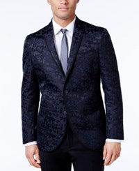 Kenneth Cole Reaction Men's Slim Fit Blue And Camouflage Dinner Jacket