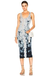 Enza Costa Rib Tank Dress In Blue Gray Ombre And Tie Dye