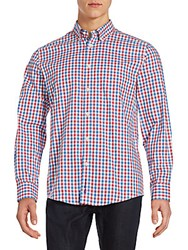 Ben Sherman Classic Fit Checked Woven Button Down Shirt Coral Red