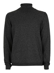 Topman Grey Premium Charcoal Roll Neck Sweater Containing Cashmere
