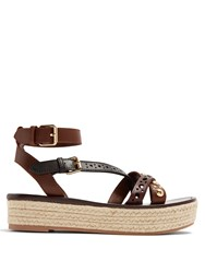 Burberry Malthouse Leather Platfrom Espadrille Sandals Brown Multi