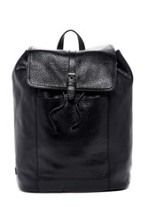 Cole Haan Leather Flap Backpack Black