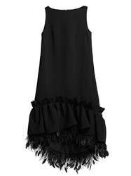 Huishan Zhang Jodie Feather Trimmed Crepe Dress Black