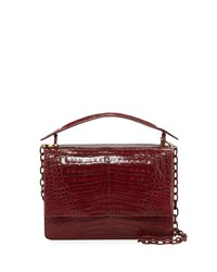 Nancy Gonzalez Crocodile Top Handle Bag W Chain Strap Red