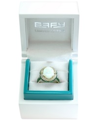 Effy Collection Effy Limited Edition Opal 2 5 8 Ct. T.W. Diamond 3 8 Ct. T.W. And Tsavorite 1 2 Ct. T.W. Ring In 14K Gold White