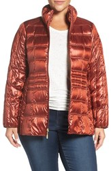 Ellen Tracy Plus Size Women's Water Repellent Quilted Jacket Spice