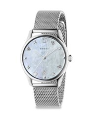 Gucci G Timeless Stainless Steel Mesh Bracelet Watch White