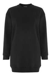Topshop Petite Throw On Sweat Tunic Top Black