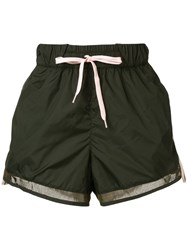 The Upside Striped Active Shorts Green