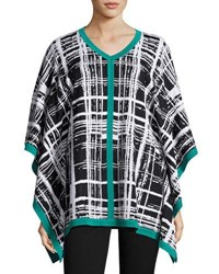 Misook Plaid V Neck Poncho Tunic Multi Pattern