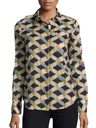 Milly Chain Printed Button Down Shirt Black