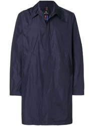Paul Smith Ps By Single Breasted Raincoat Blue