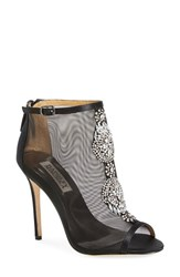 Women's Badgley Mischka 'Rana' Mesh Open Toe Bootie Black Satin
