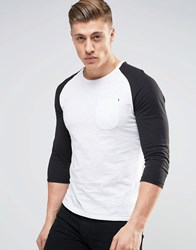 Produkt Contrast Raglan 3 4 Length Sleeve Top White