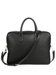 Bally Pebbled Calf Leather Briefcase Black