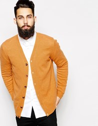Asos Lambswool Rich Cardigan Mustard Yellow