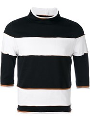 Telfar Striped Mock Neck Top Black