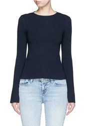 Rosie Assoulin Contrast Racerback Cotton Sweater Blue